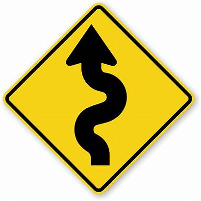 Road Sign Left Winding Signs Clipart Ahead