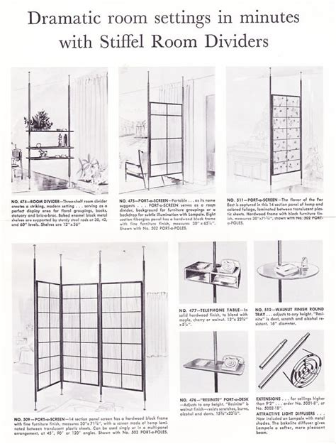 stiffel tension pole room dividers mid century