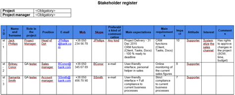 stakeholder register template template stakeholder register great project manager