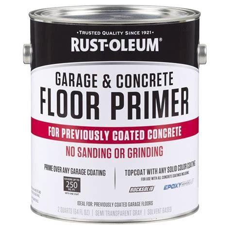 garage floor paint primer shop rust oleum garage and concrete 1 part gray flat garage floor primer actual net contents
