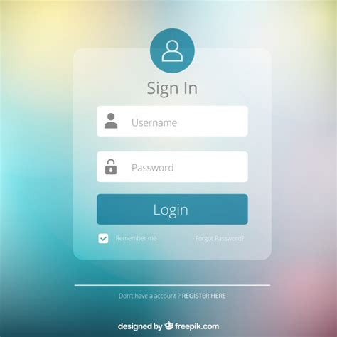 Blurred Login Form Design Vector