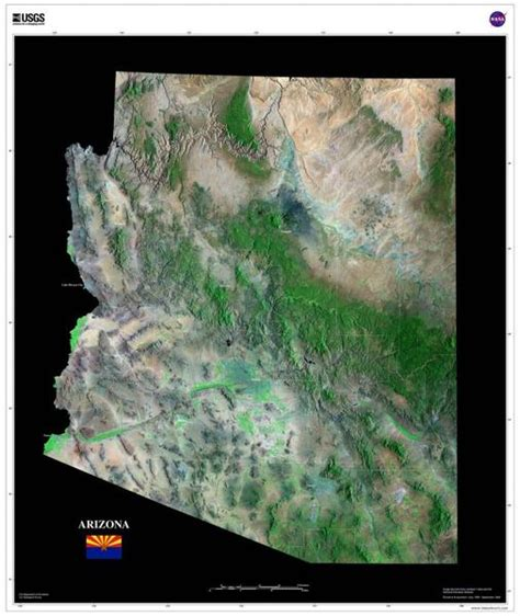 arizona satellite poster map aerial views  space