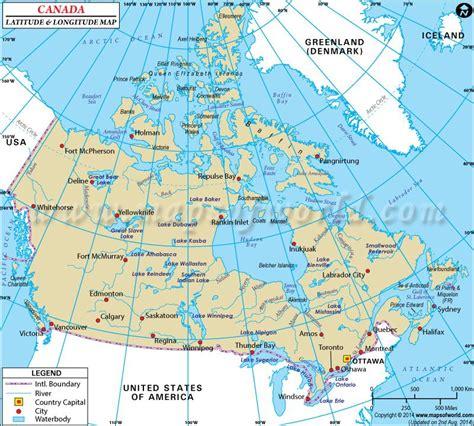 canada latitude and longitude map maps