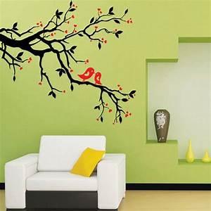 Arbre De Vie Decoration Murale : sticker muraux arbre branche oiseau autocollant imperm able d coratif design mur playroom ~ Teatrodelosmanantiales.com Idées de Décoration