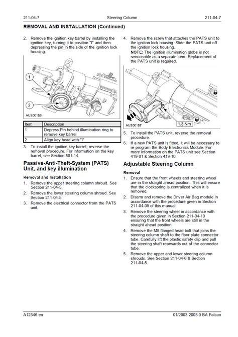 Ford Falcon How Remove Ignition Barrel