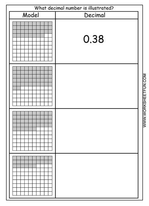 images  number  hundredths worksheet