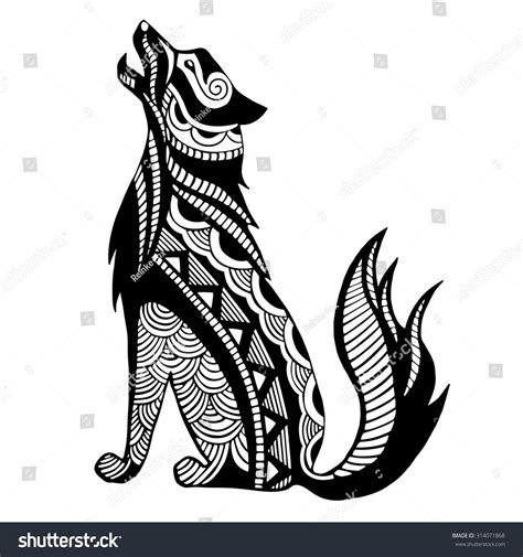 ethnic black wolf silhouette african totem stock vector