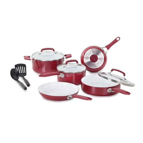 wearever pure living  piece cookware set red  hayneedle