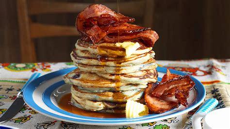 blueberry pancakes  bacon recipe sbs food