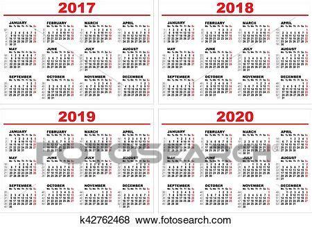 set grid wall calendar clip art