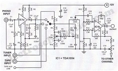 Tda Stereo Preamplifier Simple Schematic Diagram