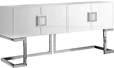 White Sideboard Furniture by Meridian Furniture Beth White Chrome Base Sideboard Buffet