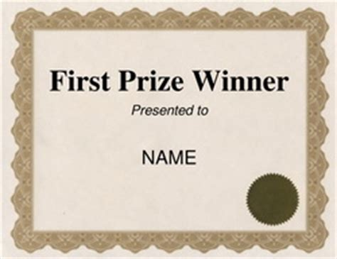 1st Place Certificate Template Free by Free Word Certificate Templates Wording Geographics