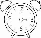 Clock Alarm Line Clip Coloring Clipart Sweetclipart sketch template