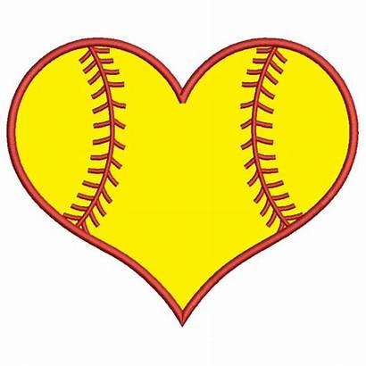 Softball Heart Clipart Embroidery Pattern Machine Digitized