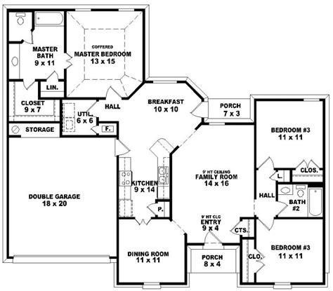 3 bed 2 bath floor plans 654113 one 3 bedroom 2 bath traditional