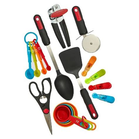 bright colored kitchen utensils farberware 17 kitchen tools and gadget set assorted 4905