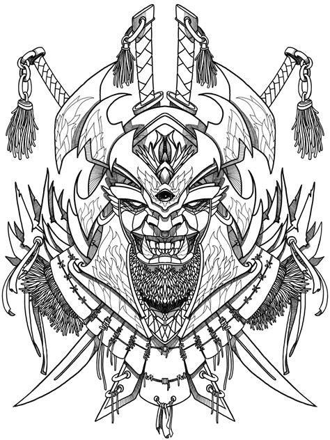 Evil samurai mask- coloring book for adult, print, logotype, tattoo. Злая Маска самурая