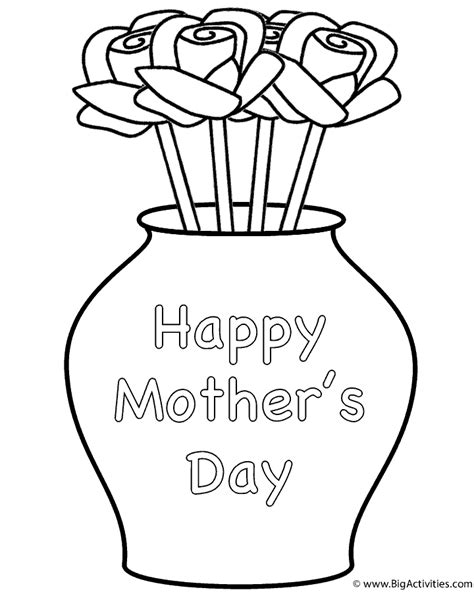 roses  vase  theme coloring page mothers day