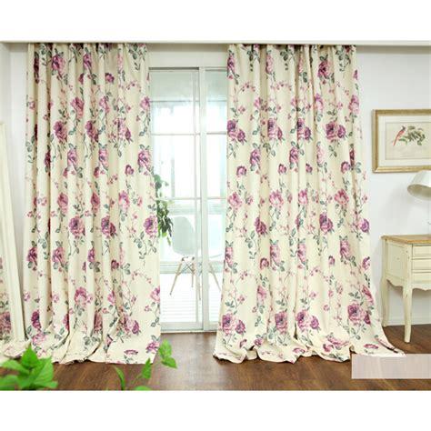 fresh linen cotton white print floral curtains