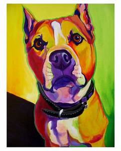 Colorful Pet Portrait Pit Bull Art Dog Print by dawgpainter