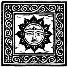 buy linocut sun moon face black  white illustration art