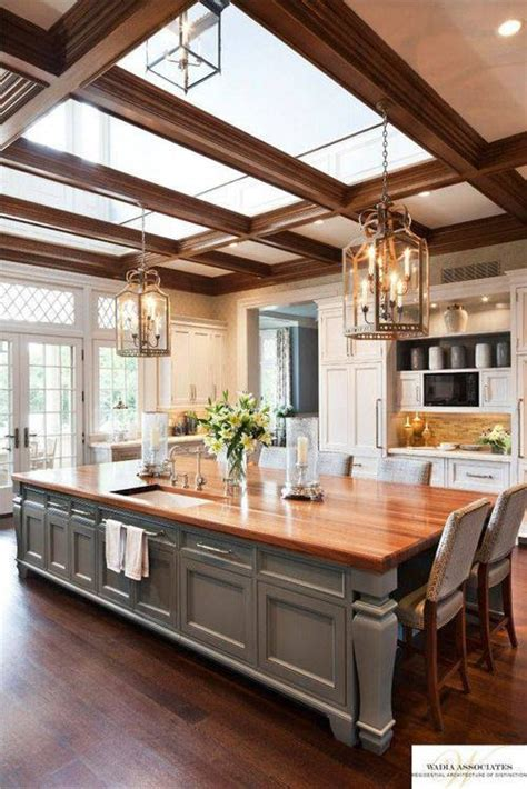 large kitchen   island  doubles   table