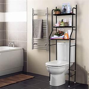 3, Shelf, Over, The, Toilet, Bathroom, Space, Saver, Towel, Storage, Rack, Organizer, Black, White