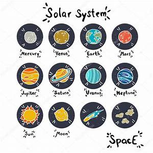 Set of hand drawn doodle planets — Stock Vector ...