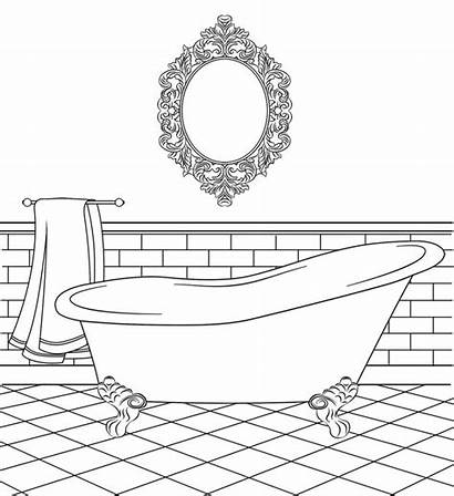 Coloring Bathtub Clipart Bathroom Pages Colouring Bird