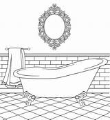 Coloring Bathtub Clipart Bathroom Pages Colouring Bird Printable Digital Bathrooms Houses Templates Clip Stamps Paper Cardboard Drawing Birdscards Webstockreview Household sketch template