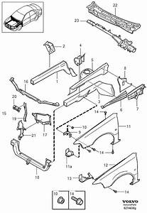 2004 Volvo S40 Hood Latch Support  Front   Stay  Section