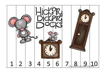 hickory dickory dock themed number sequence puzzle 1 10 322 | original 1534182 1