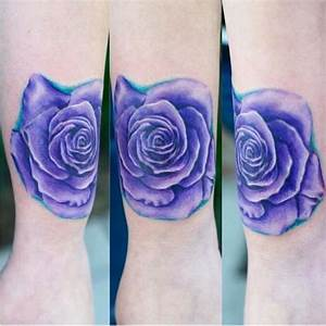 Violet colored arm tattoo of beautiful rose - Tattooimages.biz