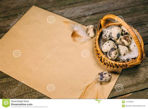 Exclusive special premium mockup that you won't ever find on our blog·. Old Paper With Quail Eggs Inside Of Little Basket On ...
