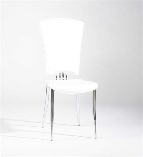 white or black leather dining chairs with chrome legs and