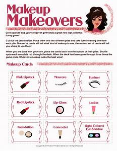 Makeup Makeovers Printable Slumber Party Game For Girls