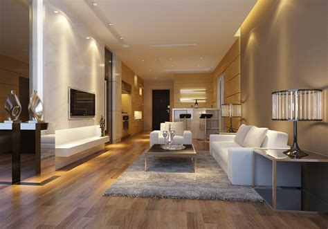 modern living room  wooden floor fully furnished