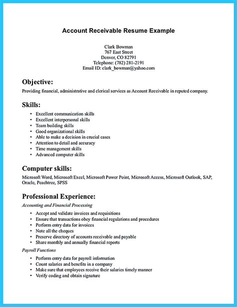 Accounts Resume Format by Accounts Receivable Resume Presents Both Skills And Also