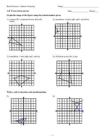 Transformation Rotation Worksheet With Answers  Gcse Transformation Translate Rotate Enlarge