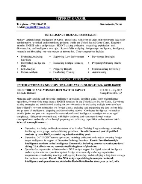 jeff ganahl intelligence research resume 14 june 15