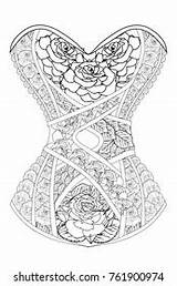 Corset Coloring Adults Roses Shutterstock Therapy sketch template