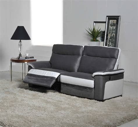 canape 3 places relax electrique idaho luba gris fonce pu blanc