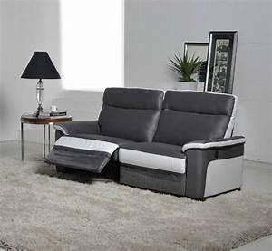 Canapé 3 Places Gris : canap 3 places relax electrique idaho luba gris fonc pu blanc ~ Teatrodelosmanantiales.com Idées de Décoration