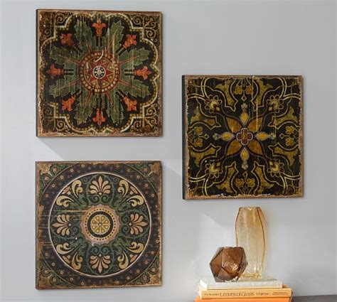 printed wood tiles wall set pottery barn