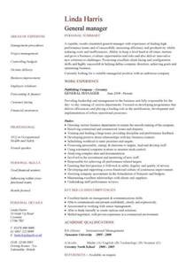 General Manager Resume Word Template by General Manager Cv Sle Responsible For Daily Operations And Business Performance Resume