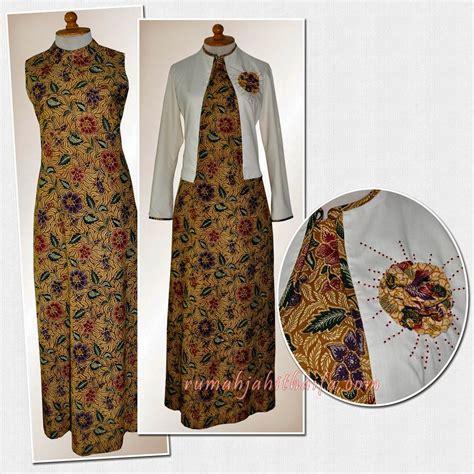 model gamis batik kombinasi blazer  terpopuler
