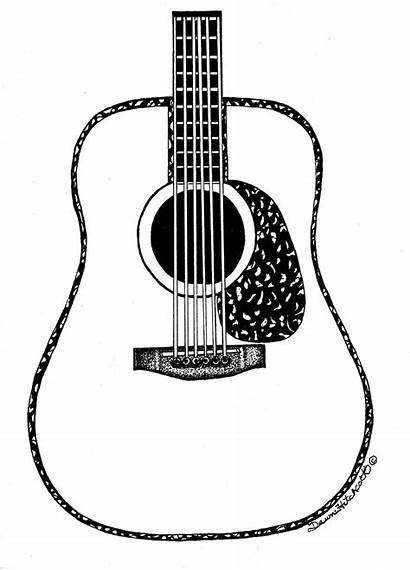 Guitar Acoustic Drawing Line Clipart Sketch Clip