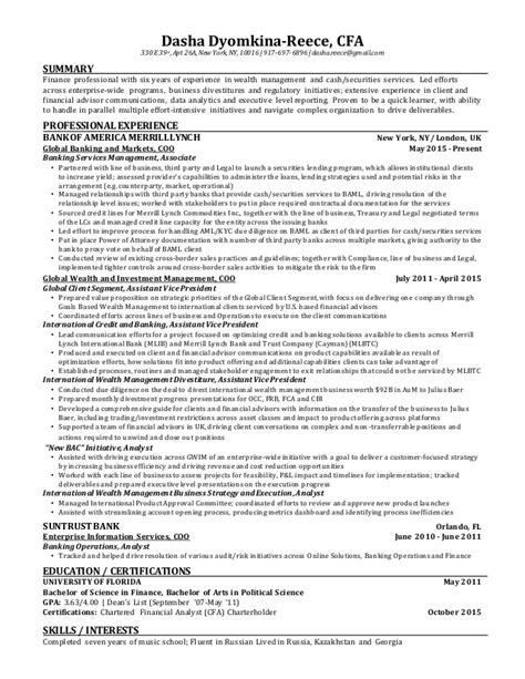 cfa resume resume ideas