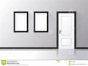 Moderne Bilder Mit Rahmen : la porte blanche s 39 est ferm e sur un mur gris avec les cadres et le plancher r fl chi ~ Sanjose-hotels-ca.com Haus und Dekorationen